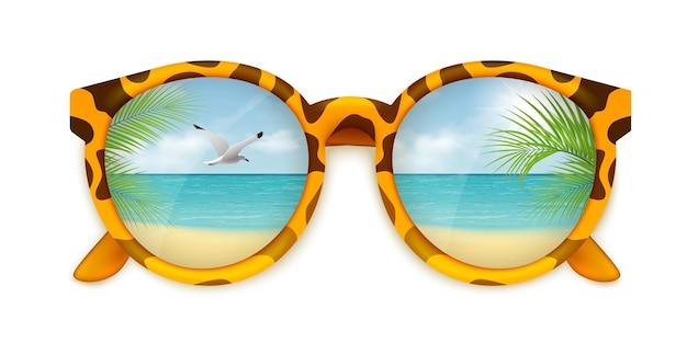サングラスとビーチリゾートのイラストと夏のリアルなイラスト