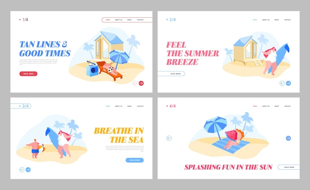 Summer recreation activity landing page set