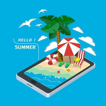 Концепция летнего отдыха 3d изометрическая инфографика с планшетом, показывающим пляжную сцену