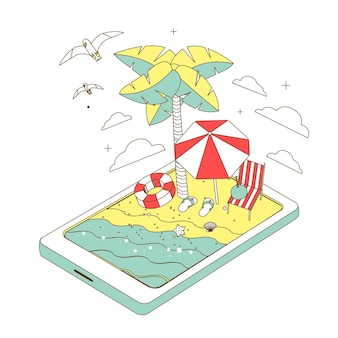 Summer recreation concept in thin line style