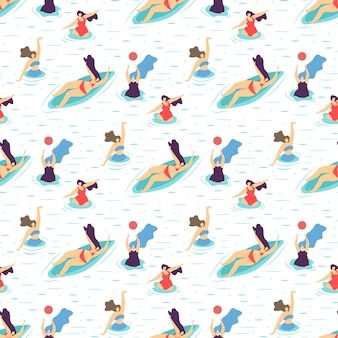 Summer recreation girl motivation seamless pattern