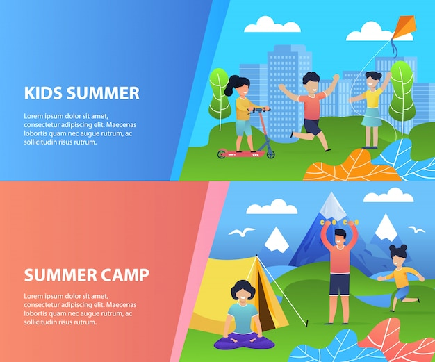 Summer recreation for kids banner template set. cartoon happy children have fun, rest, spend joyful time in city park and campground in mountains valley.