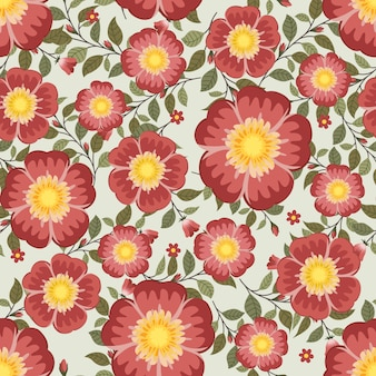 Summer red flowers wreath ivy style with branch and leaves, seamless pattern