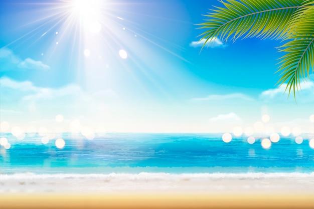 Пейзаж летнего курорта с красивым пляжем и солнцем на иллюстрации