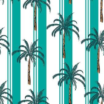 Summer resort stripe with palm tree seamless pattern