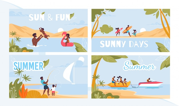 Summer resort on tropical seacoast ad poster set
