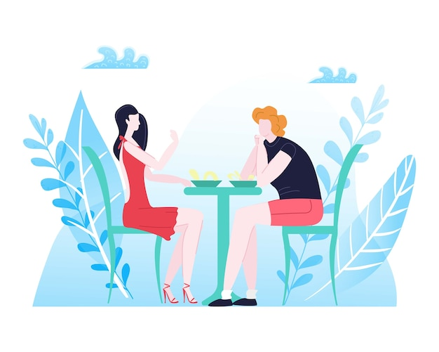 Summer rest, couple love composition, happy man, romantic setting, dinner for two,     illustration. young people spend time together, romance guy and girl sitting at table.