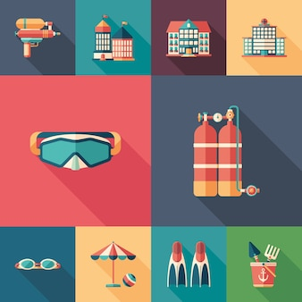 Summer rest set of flat square icons with long shadows.