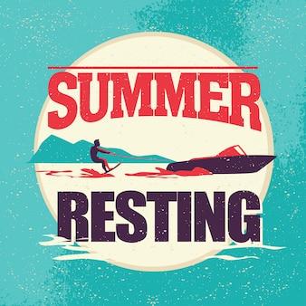 Summer resting vector flat illustration.