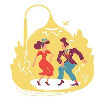 夏のレトロなパーティーのwebバナー、ポスター。アウトドアの40年代スタイルのディスコ。若いカップルが漫画の背景に街路灯のキャラクターの下でジャイブを踊る。印刷可能なパッチ、カラフルなウェブ要素