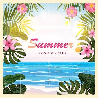 여름 복고풍 포스터 배경, 꽃, 해변, 일러스트