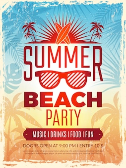 Summer retro poster. vacation tropical beach summer party invitation retro placard vector template