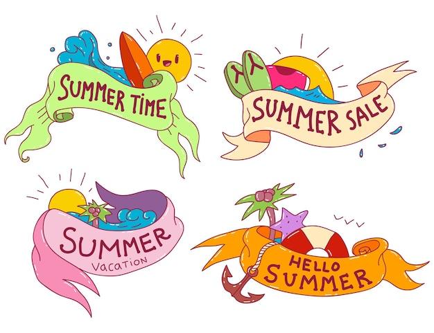 Summer ribbon set in cartoon style isolated.