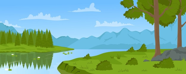 Summer river mountain calm landscape nature trees and green grass on shore riverside