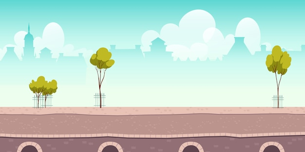Летняя набережная или мост с зелеными деревьями