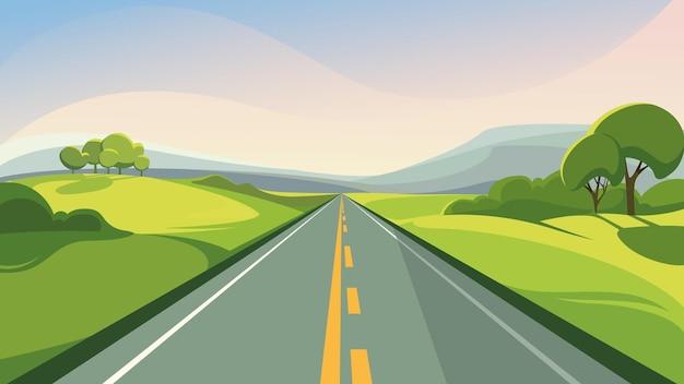 水平線に伸びる夏の道。美しい屋外シーン。
