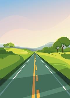 地平線に伸びる夏の道。縦向きの屋外シーン。