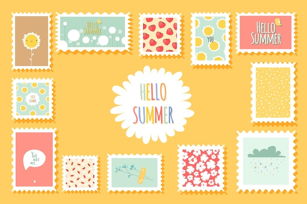 Summer romantic postage stamps with flowers and cute fruits elements in flat style