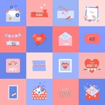 Summer romantic stickers in flat trendy style and mothers day card