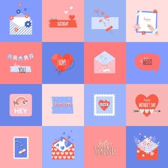 Летние романтические наклейки в плоском модном стиле и открытка на день матери