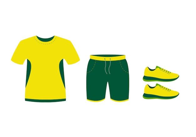 여름 운동복. 티셔츠, 반바지, 운동화.