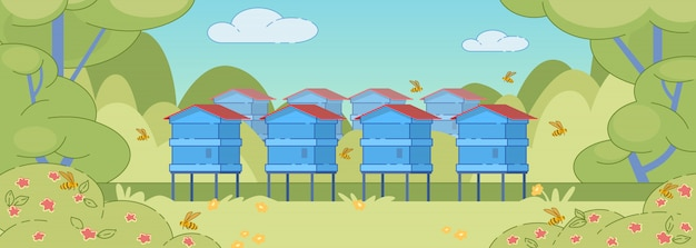 Summer rural landscape background with apiary.