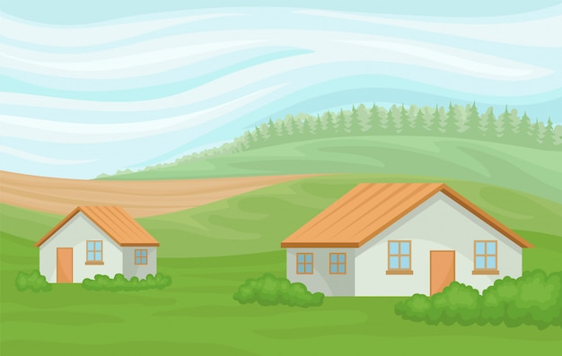 Summer rural landscape with farmhouses, field with green grass, agriculture and farming  illustration on a white background