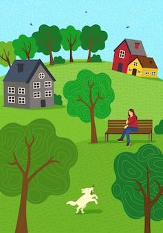 Летнее сельское настроение рисованной осенний сезон природа. девушка на скамейке в парке и гуляет с собакой. газонные холмы и деревья. деревенский отдых деревенской сцены векторные иллюстрации для плаката, баннера, открытки, брошюры или обложки