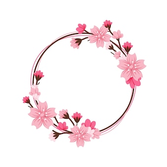 Summer sakura flower frame