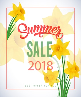 Summer sale 2018 lettering in frame with narcissuses on transparent background.