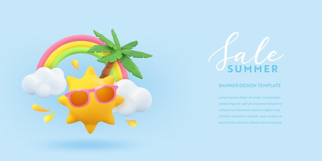 Summer sale 3d banner design. realistic render scene tropical palm tree, sun, rainbow, cloud. tropic promo offer, holiday web poster, seasonal discount, coupon brochure, voucher.  summertime layout