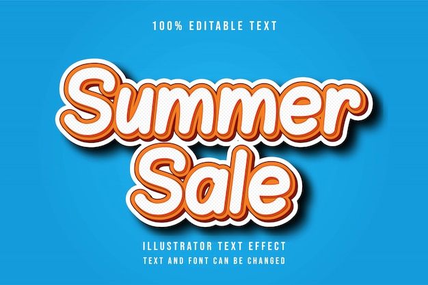 Summer sale,3d editable orange red text effect modern shadow comic style