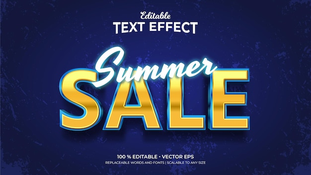 여름 세일 3d 스타일 편집 가능한 텍스트 효과