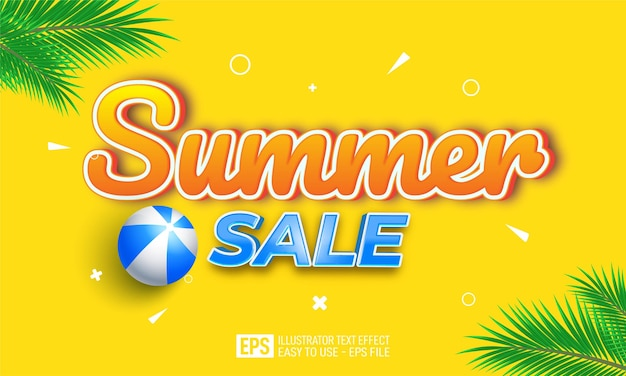 Summer sale 3d text editable style effect template