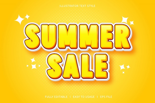 Летняя распродажа, эффект шрифта в стиле 3d текста с желтой градацией