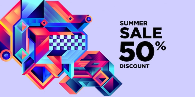 Summer sale 50% discount colorful abstract geometric banner