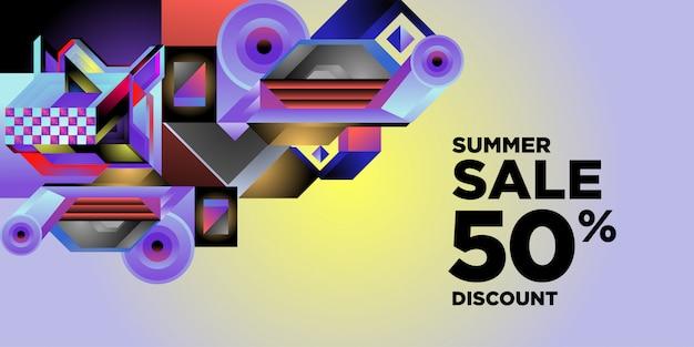 サマーセール50%割引カラフルな抽象的な幾何学的なバナー