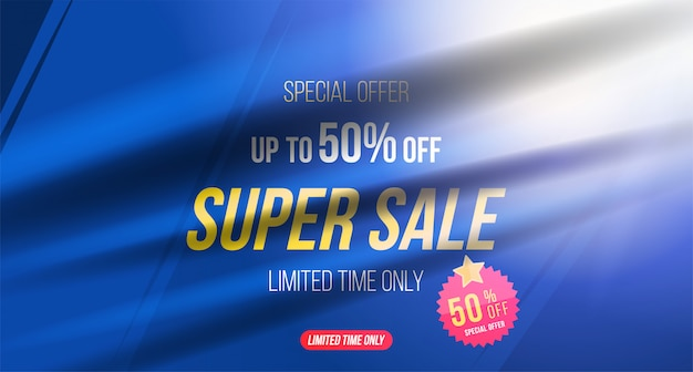 Summer sale 50% off discount horizontal banner