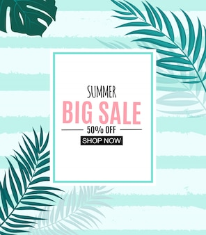 Summer sale abstract banner  with palm leaves