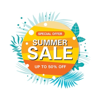 Summer sale abstract circle banner