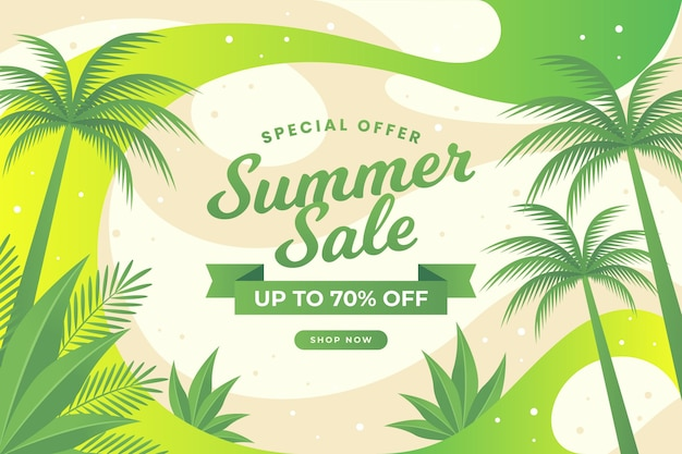 Summer sale abstract design and tropical trees