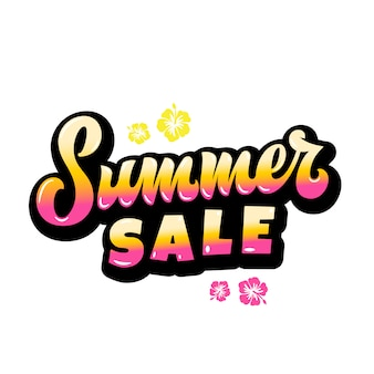 Summer sale abstract  hand lettering gard, sign or poster template. with hawaii flowers and pink yellow gradient.