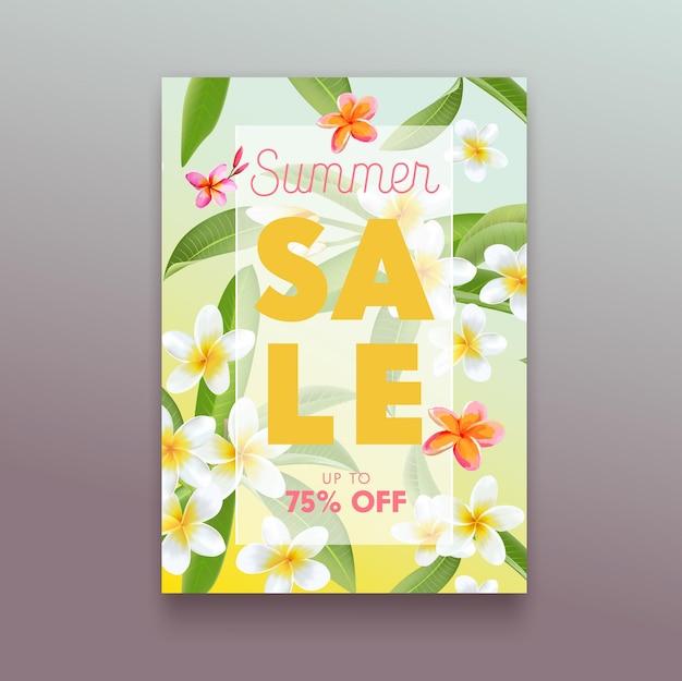 Рекламный плакат летней распродажи с экзотическими тропическими цветами плюмерии и пальмовыми листьями. рекламный баннер для летних скидок, дизайн промо-флаера, off card frangipani blossoms. векторные иллюстрации шаржа