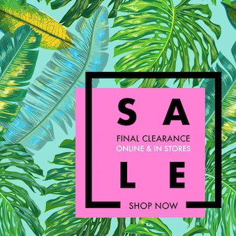 Summer sale ad tropical banner with palm leaves