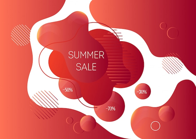 Summer sale advertising banner template with trendy abstract liquid shapes