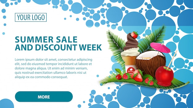 Летняя распродажа и скидки на неделю, баннер с кокосовым коктейлем