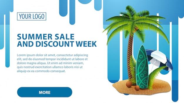 Летняя распродажа и скидочная неделя, баннер с пальмой и доской для серфинга