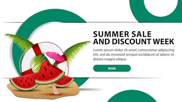 Летняя распродажа и неделя скидок, креативный белый веб-баннер