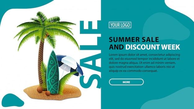 Летняя распродажа и неделя скидок, горизонтальный баннер скидок для вашего сайта