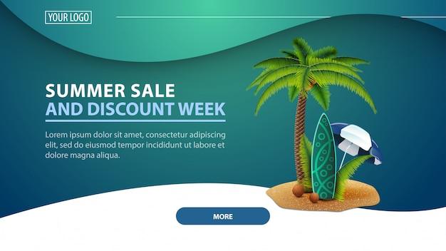 Летняя распродажа и скидочная неделя, современный дисконтный веб-баннер для сайта